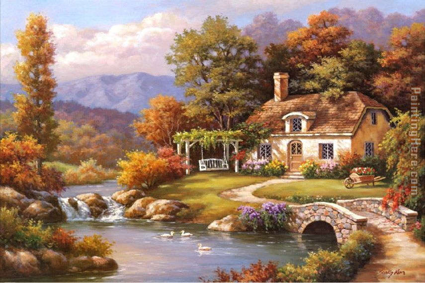 Sung Kim Cottage Stream Art Painting