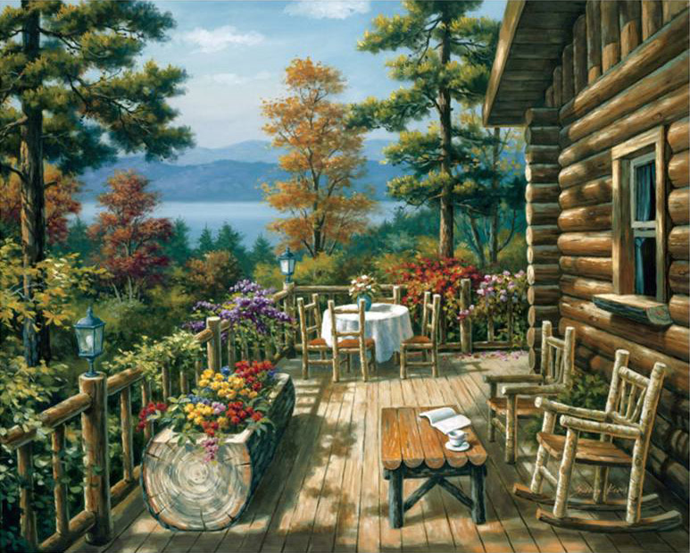 Sung kim log cabin porch painting anysize 50 off log for Log cabin painting