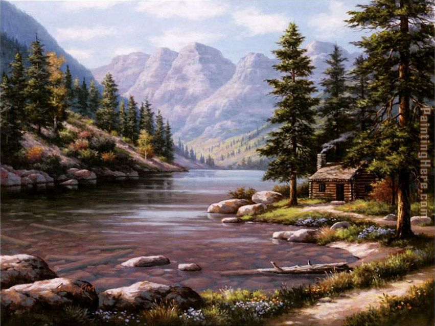 Sung kim log cabin retreat painting anysize 50 off log for Log cabin retreat
