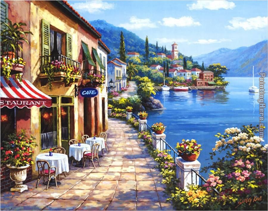 Sung kim overlook cafe i painting anysize 50 off for Cafe wall mural
