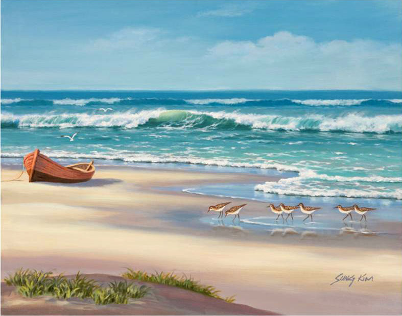 Sandpiper March II painting - Sung Kim Sandpiper March II art painting