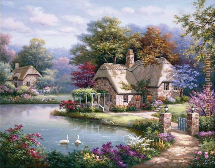 Swan Cottage I painting - Sung Kim Swan Cottage I art painting