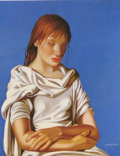 Lady in Blue painting - Tamara de Lempicka Lady in Blue art painting