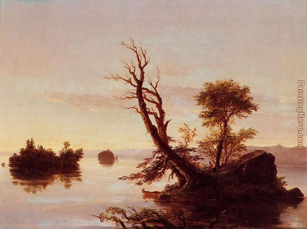 American Lake Scene painting - Thomas Cole American Lake Scene art painting