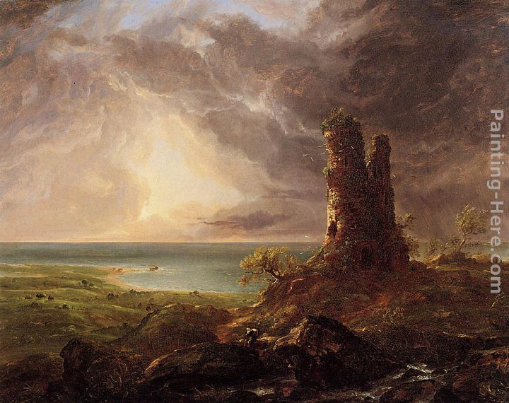 Romantic Landscape with Ruined Tower painting - Thomas Cole Romantic Landscape with Ruined Tower art painting