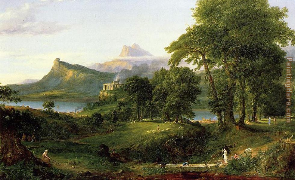 The Course of Empire The Arcadian or Pastoral State painting - Thomas Cole The Course of Empire The Arcadian or Pastoral State art painting