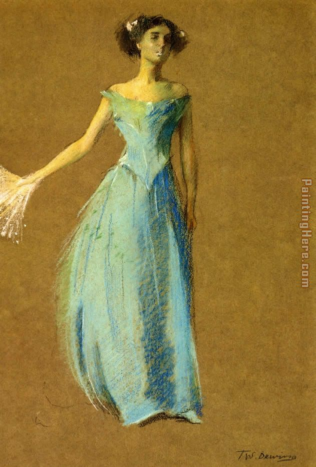 Thomas Dewing Lady in Blue Portrait of Annie Lazarus Art Painting