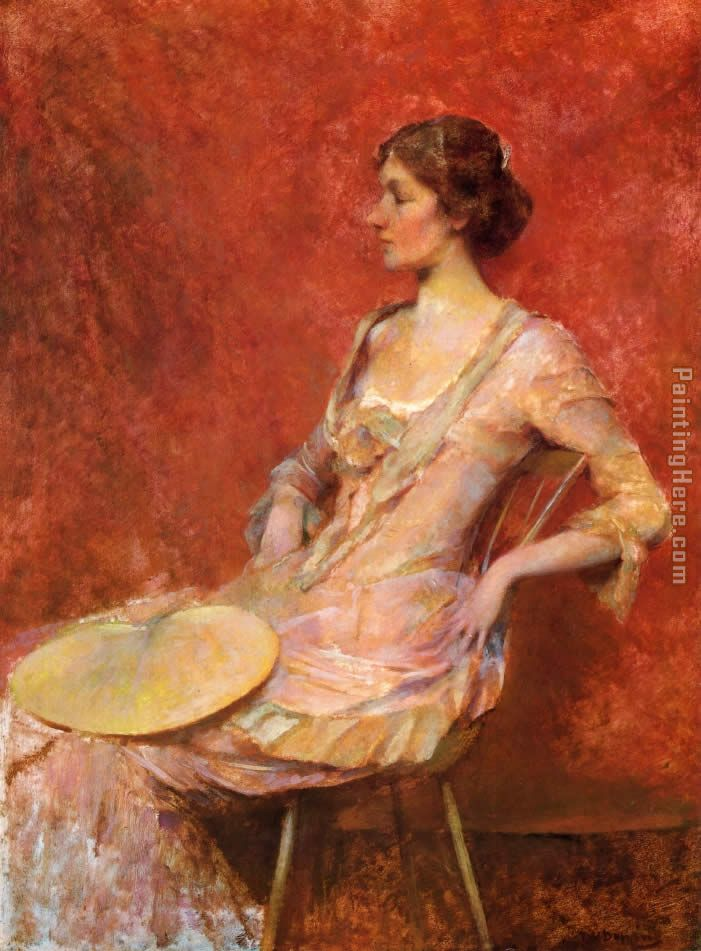 The Palm Leaf Fan painting - Thomas Dewing The Palm Leaf Fan art painting