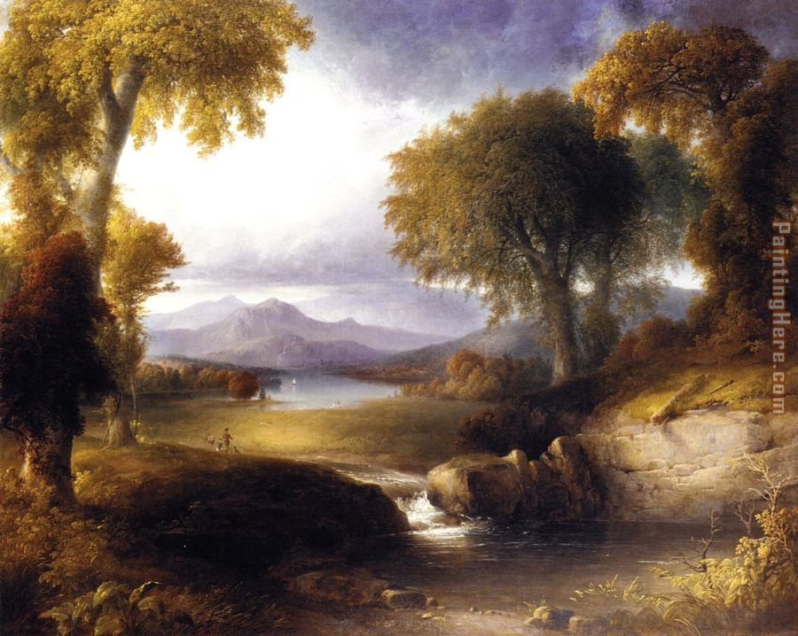Autumn Landscape painting - Thomas Doughty Autumn Landscape art painting