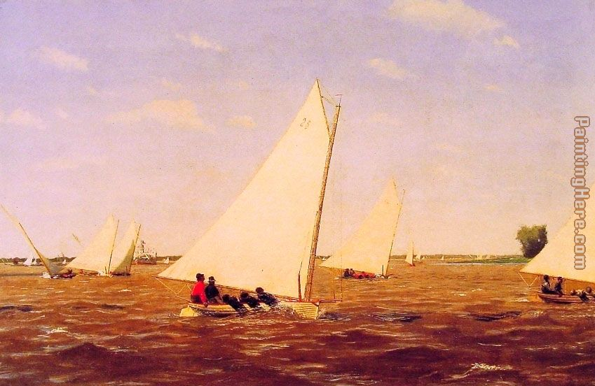 Sailboats Racing on the Delaware painting - Thomas Eakins Sailboats Racing on the Delaware art painting