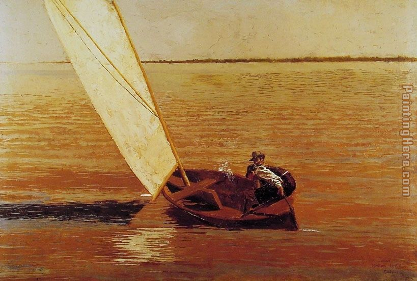 Sailing painting - Thomas Eakins Sailing art painting