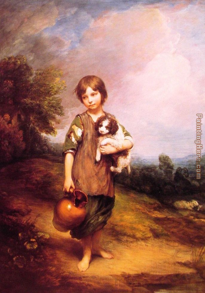 ... - Thomas Gainsborough Cottage Girl with Dog and Pitcher Painting