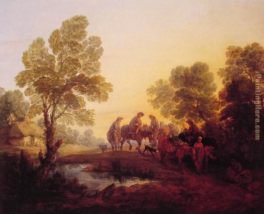 Evening Landscape Peasants and Mounted Figures painting - Thomas Gainsborough Evening Landscape Peasants and Mounted Figures art painting