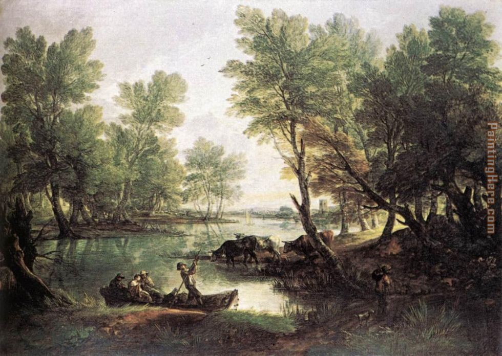 River Landscape painting - Thomas Gainsborough River Landscape art painting