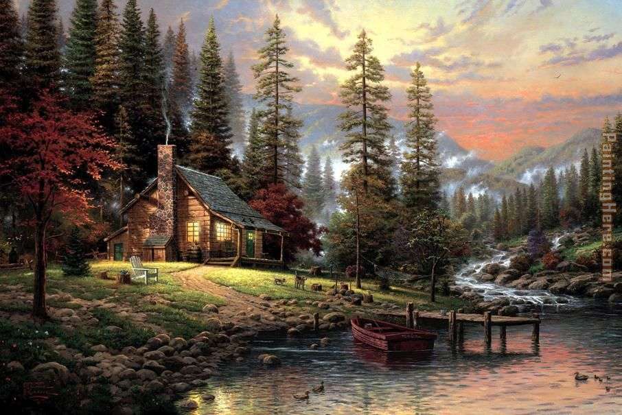 A Peaceful Retreat painting - Thomas Kinkade A Peaceful Retreat art painting