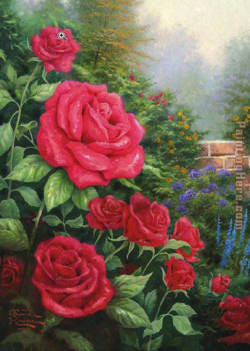 Thomas Kinkade A Perfect Red Rose Art Painting