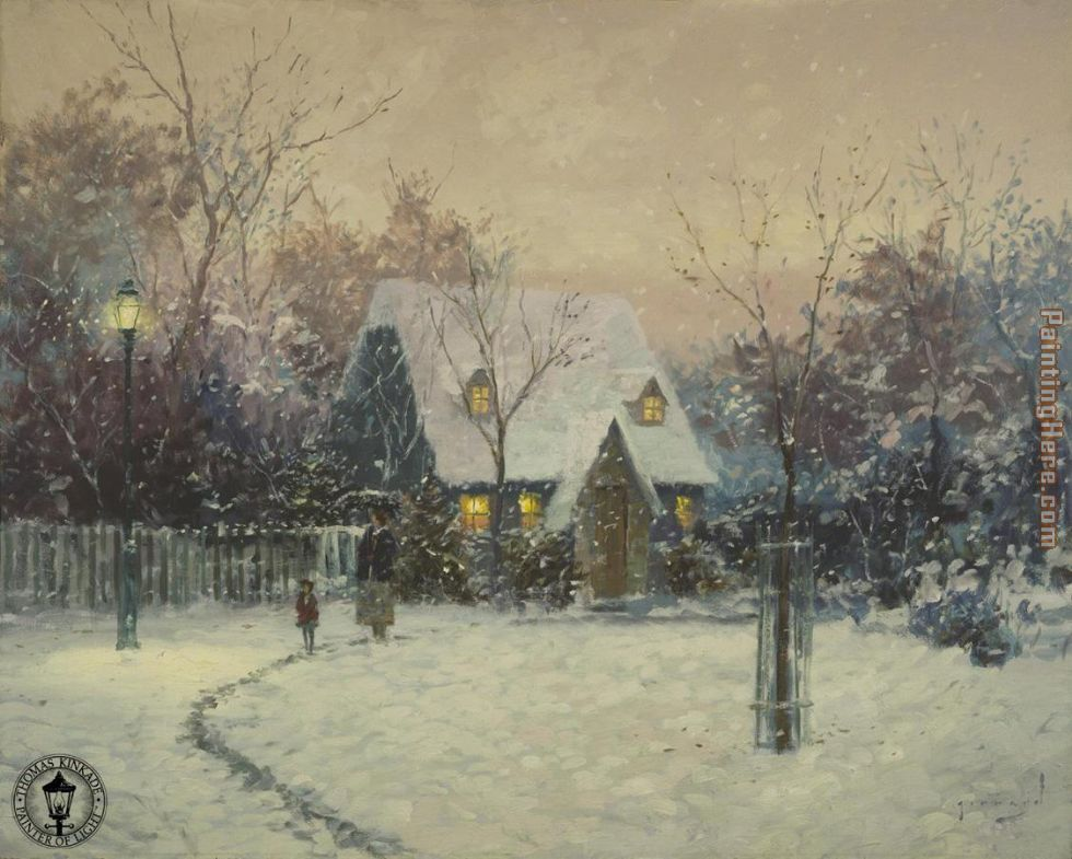 Thomas Kinkade A Winter's Cottage Art Painting