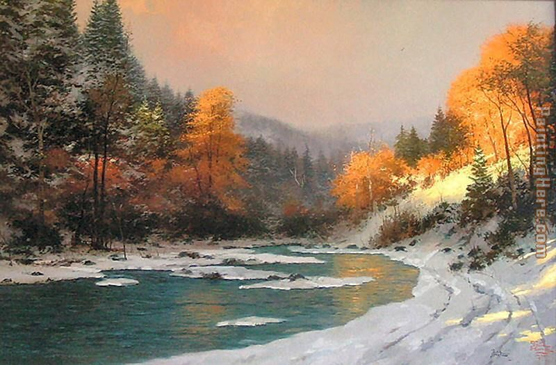Autumn Snow painting - Thomas Kinkade Autumn Snow art painting
