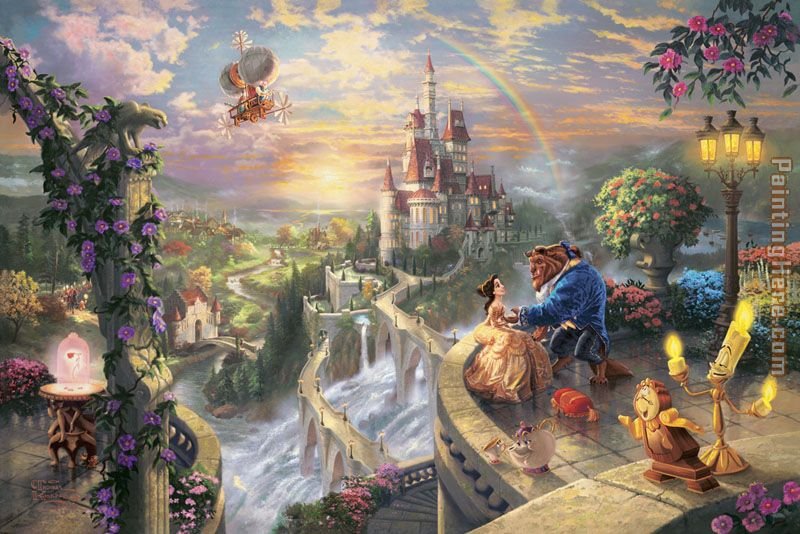 Thomas Kinkade Beauty and the Beast Falling in Love Art Painting