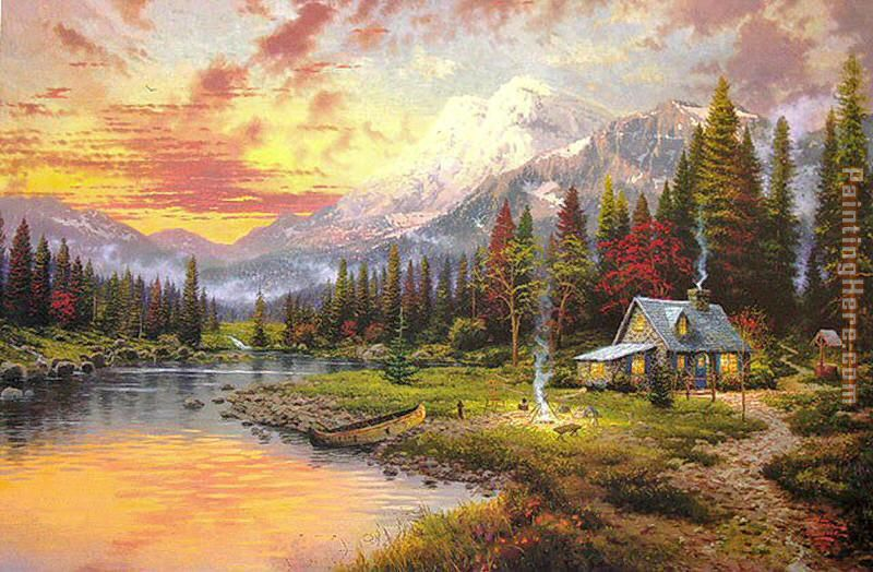 Thomas Kinkade Beginning Of A Perfect Evening I Painting Anysize 50 Off Beginning Of A Perfect Evening I Painting For Sale