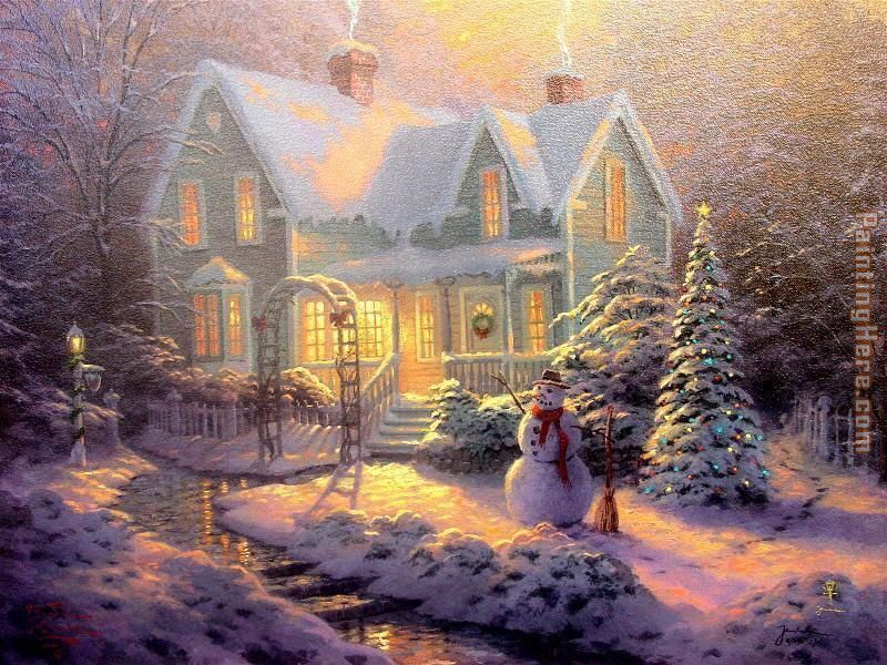 Blessings of Christmas painting - Thomas Kinkade Blessings of Christmas art painting