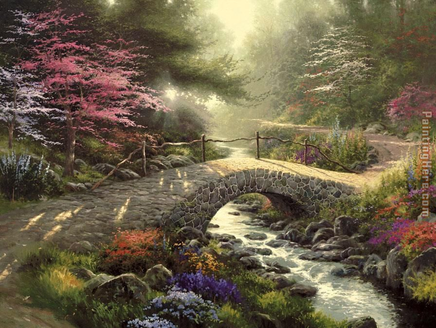 Thomas Kinkade Bridge of Faith Art Painting