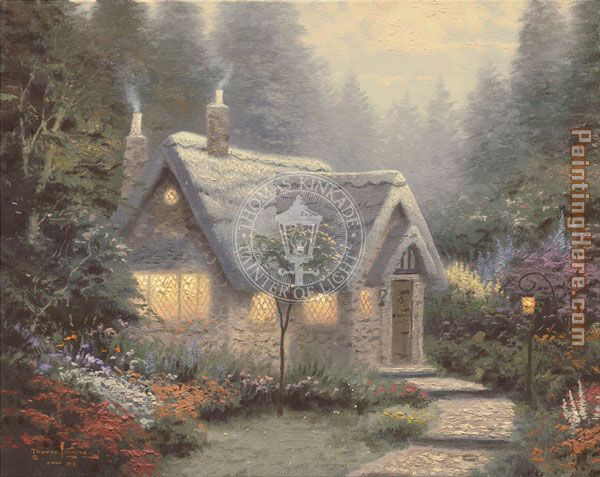 Thomas Kinkade Cedar Nook Cottage Art Painting