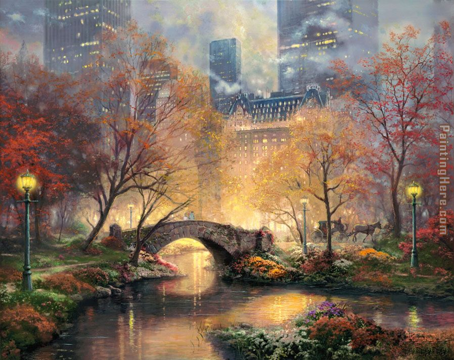 Central Park in the Fall painting - Thomas Kinkade Central Park in the Fall art painting