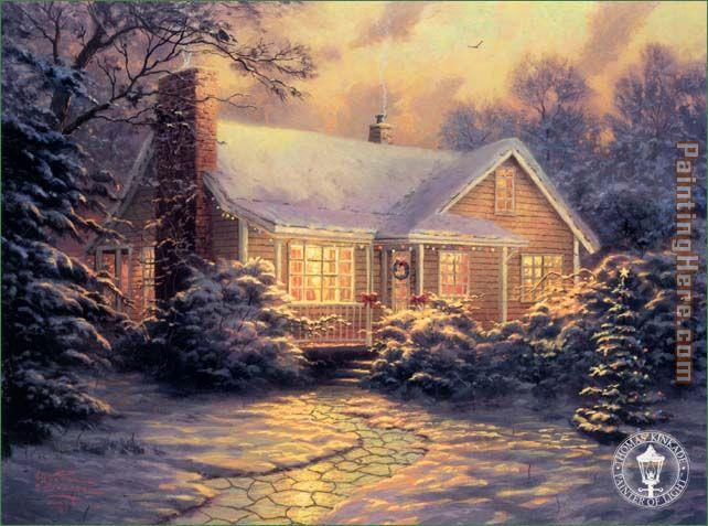 thomas kinkade christmas cottage painting anysize 50 off rh paintinghere com
