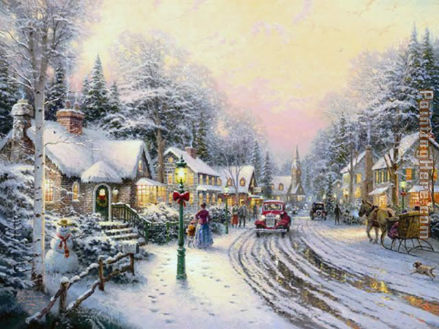 Christmas Village painting - Thomas Kinkade Christmas Village art painting