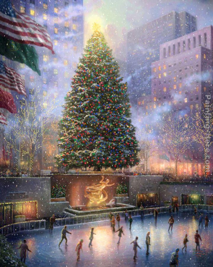 Thomas Kinkade Christmas in New York painting anysize 50% off ...