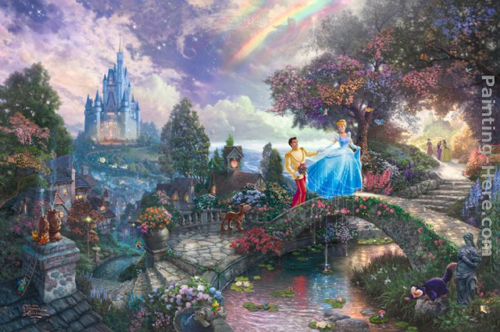 Thomas Kinkade Cinderella Wishes Upon a Dream Art Painting