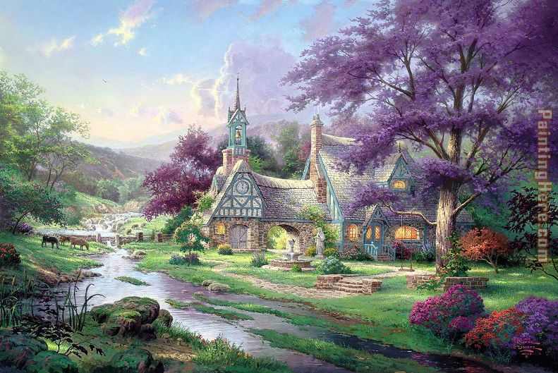Clocktower cottage painting - Thomas Kinkade Clocktower cottage art painting