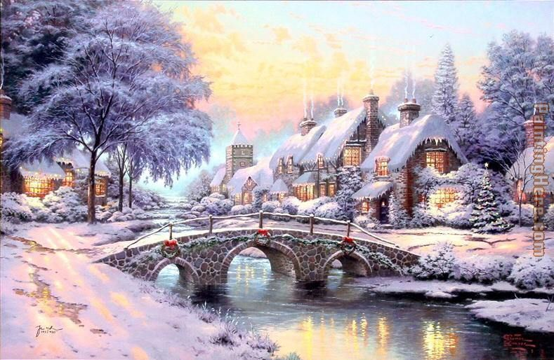 cobblestone christmas painting thomas kinkade cobblestone christmas art painting