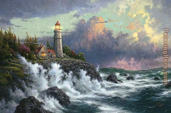 Thomas Kinkade Conquering the Storms Art Painting