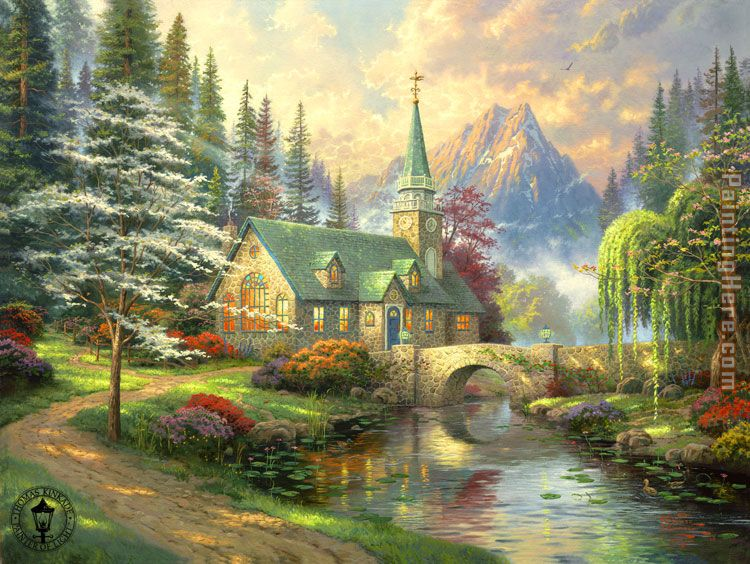 Thomas Kinkade Dogwood Chapel Art Painting