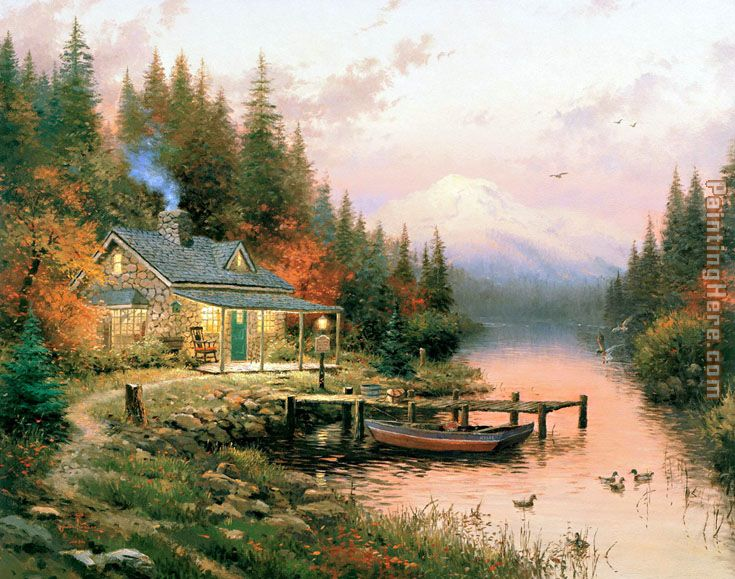 End of a Perfect Day painting - Thomas Kinkade End of a Perfect Day art painting