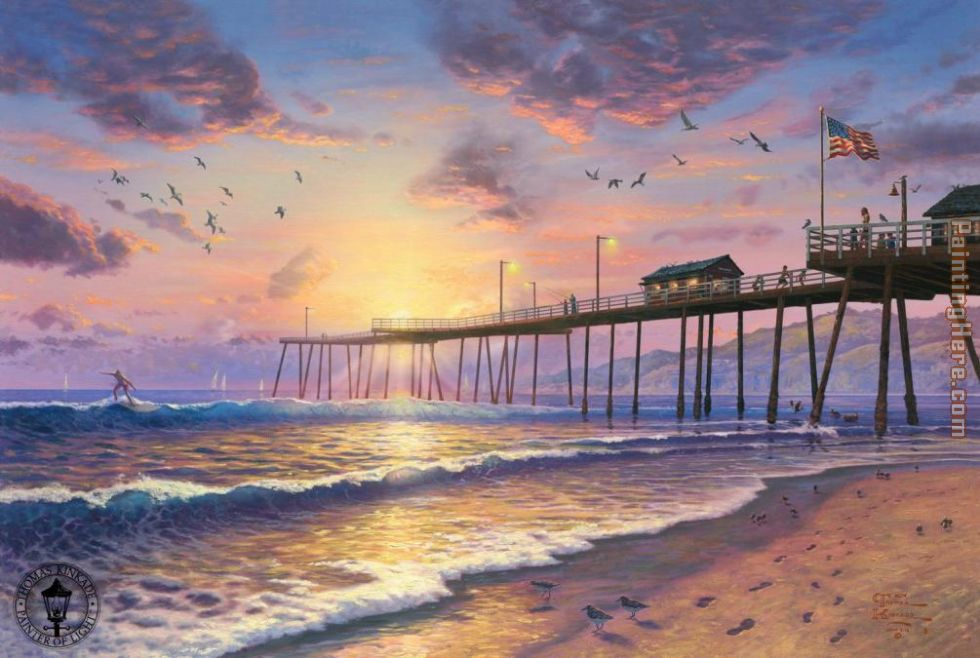 Footprints in the sand painting - Thomas Kinkade Footprints in the sand art painting