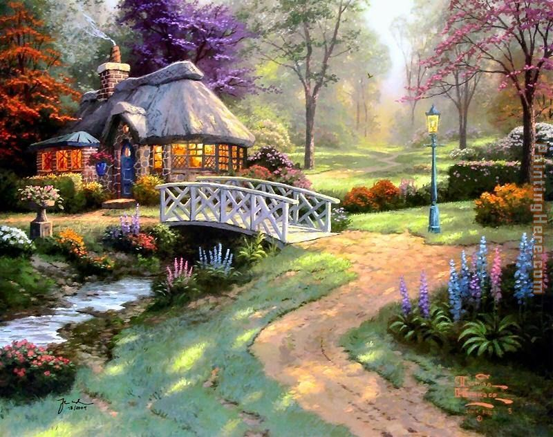 Thomas Kinkade Friendship Cottage Art Painting