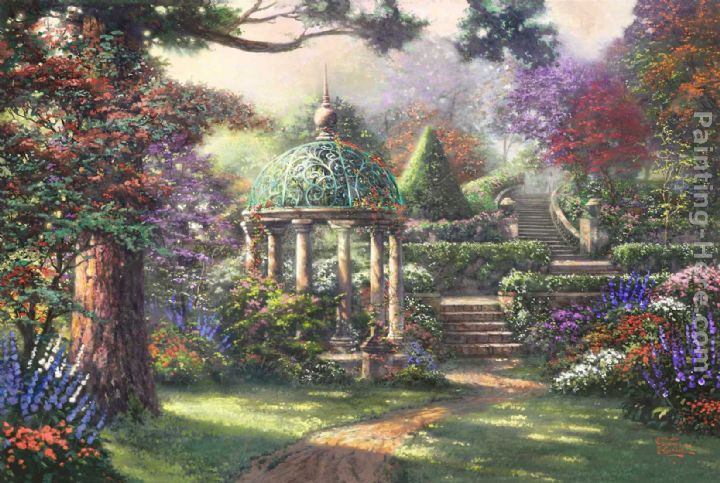 Gazebo of Prayer painting - Thomas Kinkade Gazebo of Prayer art painting