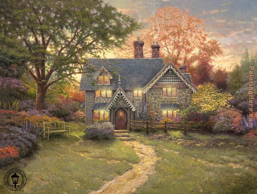 Thomas Kinkade Gingerbread Cottage Art Painting
