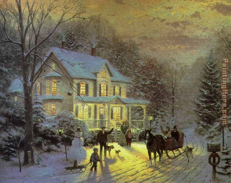 Thomas Kinkade HOME FOR THE HOLIDAYS Art Painting