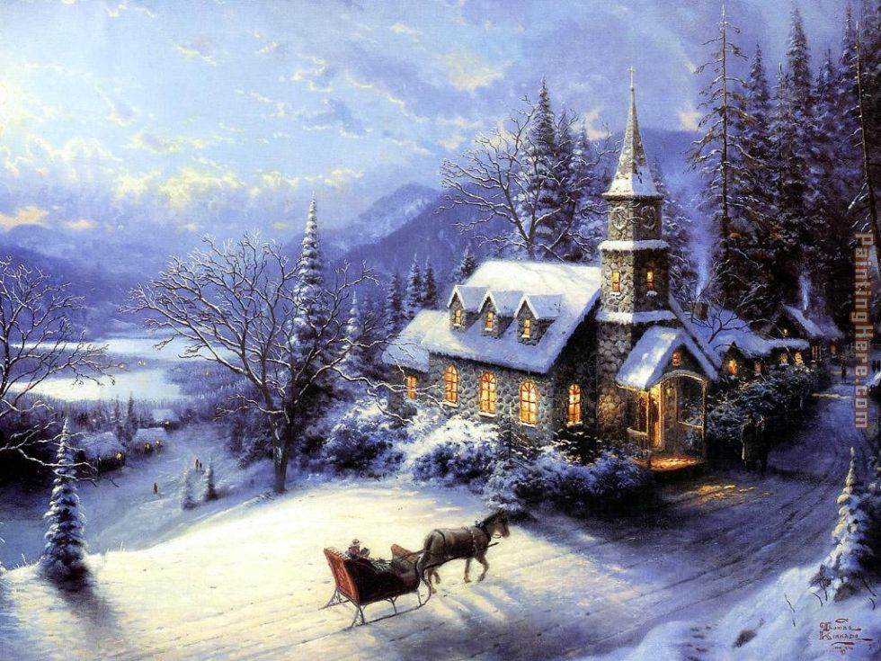 home for christmas painting thomas kinkade home for christmas art painting