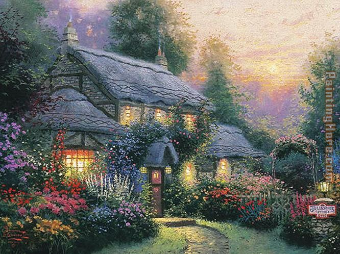 Julianne's cottage painting - Thomas Kinkade Julianne's cottage art painting