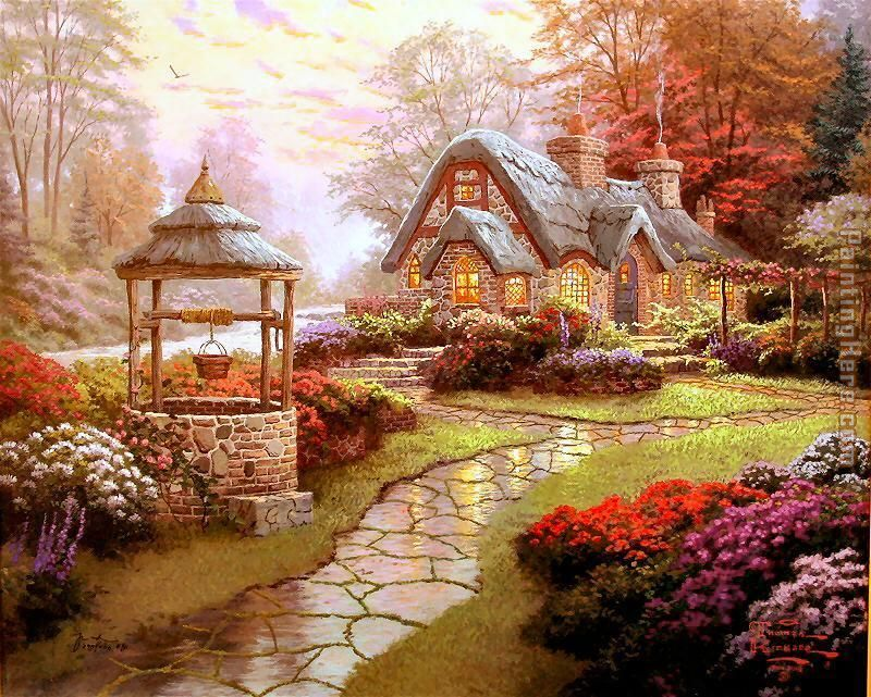 Make a Wish Cottage 2 painting - Thomas Kinkade Make a Wish Cottage 2 art painting