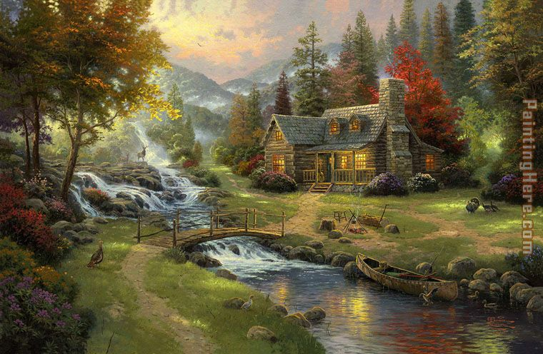 Mountain Paradise painting - Thomas Kinkade Mountain Paradise art painting