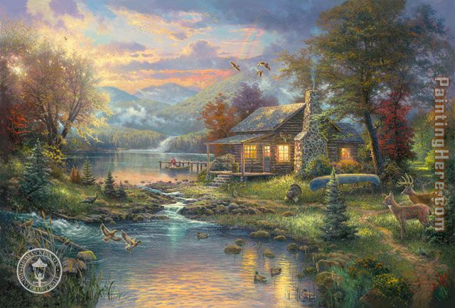 Natures Paradise painting - Thomas Kinkade Natures Paradise art painting