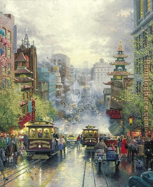 San Francisco A View Down California Street From Nob Hill painting - Thomas Kinkade San Francisco A View Down California Street From Nob Hill art painting