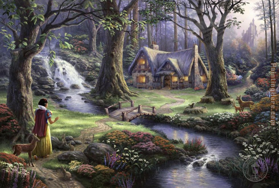 Snow White discovers the cottage painting - Thomas Kinkade Snow White discovers the cottage art painting
