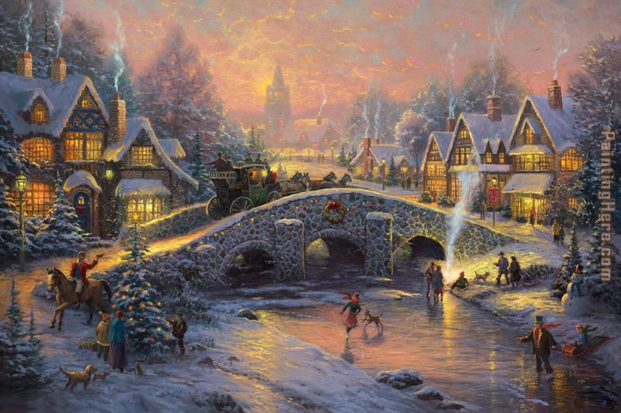 Spirit of Christmas painting - Thomas Kinkade Spirit of Christmas art painting